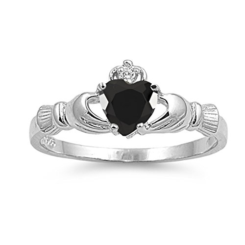 925 Sterling Silver Faceted Natural Genuine Black Onyx Claddagh Heart Promise Ring Size 6