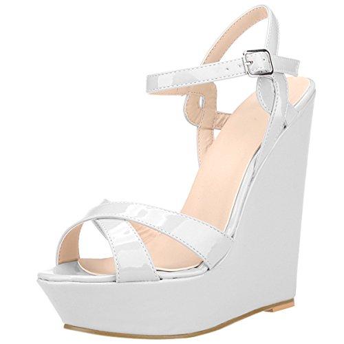 Soirée 41 Cuir Chaussure Bout Vernis Compensees Mariage Femme Eté Sandales Mode Elégant 40 Blanc Plateforme Grande Bride Taille Ouvert 42 Bohême wealsex Cheville Boucles qx1wZP