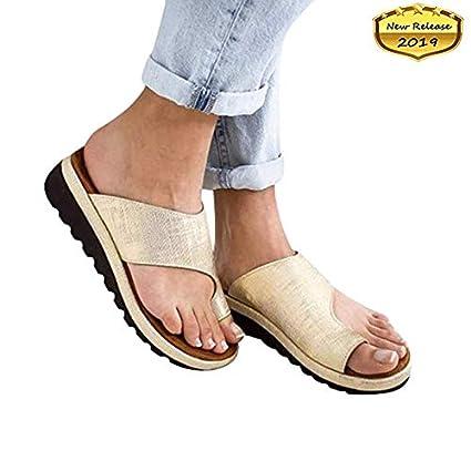 XYZY Sandalias Correctoras Suaves con Dedo Gordo del pie Suela Plana de Cuero de PU Zapatillas
