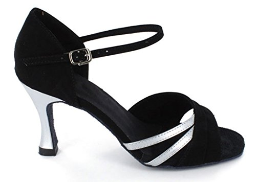 Tda Womens Single Strap Peep Toe Fibbia Salsa Tango Ballroom Latino Moderno Scarpe Da Ballo Da Ballo Nero Argento