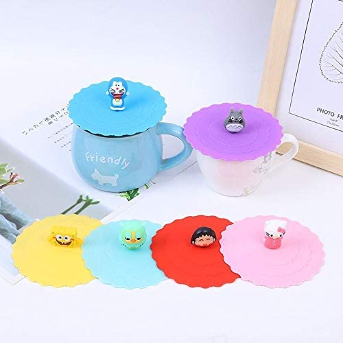 Silicone Cup Cover Coffee Lid Mug Cute Leakproof Anti Dust Suction Seal Cup Cap