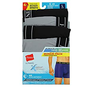 Hanes Men's X-Temp Tagless Lightweight Wicking Boxer Brief 4 Pack, Large