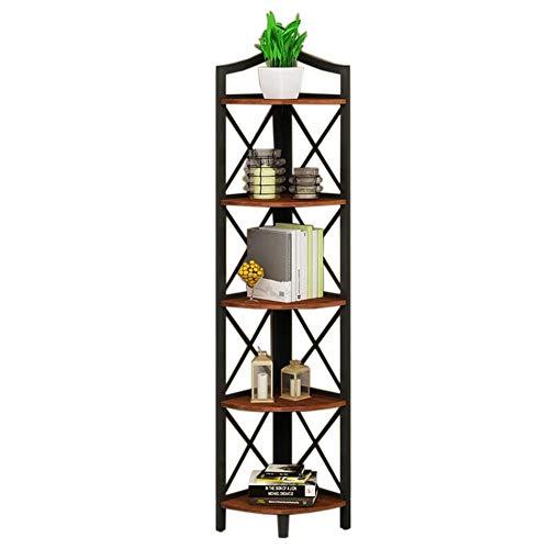 Jcnfa-Shelves Corner Bookcase Multifunctional Corner Shelf Rack Metal Frame Shelving Bookcase Cabinet DIY Closet Organizers,5 Layers (Color : A, Size : -
