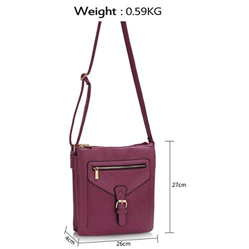 A tracolla da donna in pelle sintetica Xardi Londra Progettista borsetta a tracolla da donna ragazze scuola Purple
