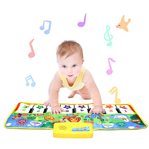 Piano Musical Mat,Giant Educational Pre-Kindergarten Toys,15 Keys Keyboard Floor Mat ( Small 28inch × 11.5inch )----No Volume Control