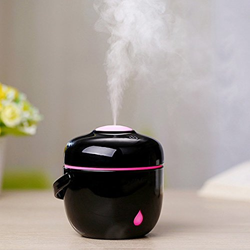 Price comparison product image ZHHBeaty Mini Cute Rice Cooker Shape USB LED Glowing Humidifier Cooker Mist Humidifier for Office Home Bedroom Living Room Study Yoga Spa (Black)