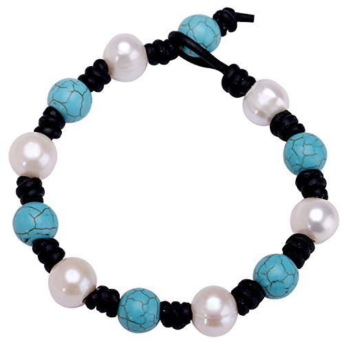 Knotted Leather (Single Knotted Leather Pearl Bracelets for Women Synthetic Turquoise Beaded Wrap Bracelets Bohemian Jewelry for Girls)