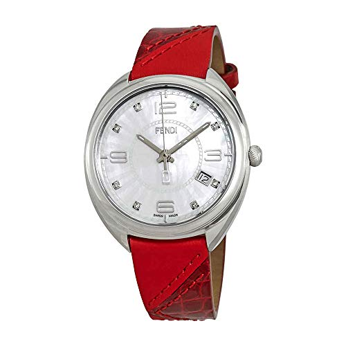 Leather Fendi White (Fendi Momento White Dial Red Leather Ladies Watch F217034573D1)