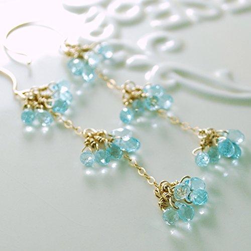 Long Blue Topaz Earrings in Gold (Blue Topaz Lightweight Earrings)