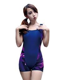 Women's One Piece Bathing Suit Navy Boy Leg Swimsuit, 4XL (Asian Size)