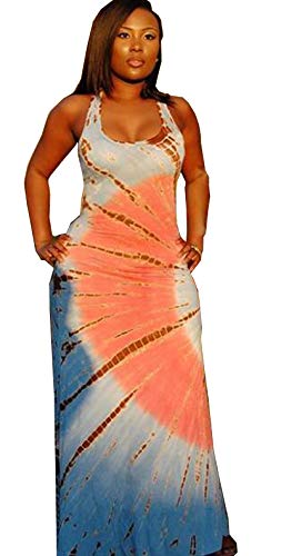 Sexy Boho Sleeveless Long Colorful Batik Tiedye Summer Spring Maxi Dress, Boho, Large ()