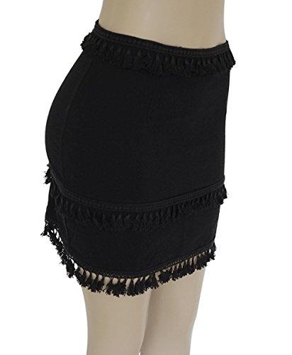 Casual Legendaryman Mini Jupe Noir t Jupe Jupes Mode Unie Soire Houppe Femmes Couleur Ajoure Plage de Slim Hanche Ceremonie de Package Fte BqAwBgO