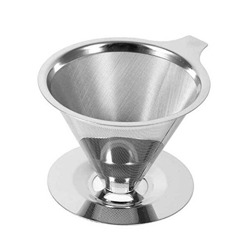 Reusable Stainless Steel Drip Cone Coffee Filter for 1-4 Cups Coffee by Spritool