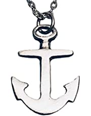 Pewter Boat Anchor Nautical Navy Naval High Polish Pendant on 3mm Cable Link Chain