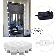 Length Adjustable: The 16 pieces makeup light bulbs perfectly match most mirrors, you can adjust the length freely, the extra wires can be wrapped around the makeup light base and hidden it to make your lighted makeup mirror present a beautif...