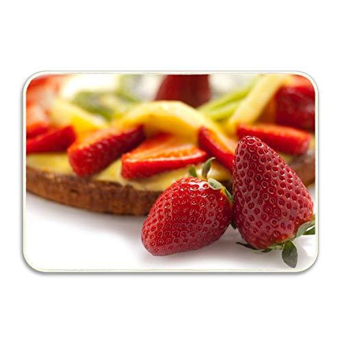 (Indoor Outdoor Entrance Rug Floor Mats Strawberry Cake Layer Berry Fruit Shoe Scraper Doormat)