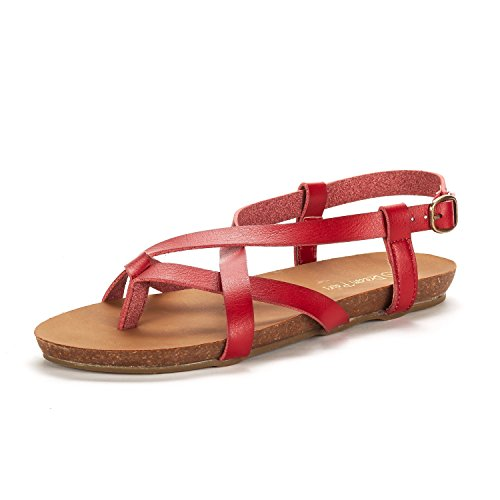 DREAM PAIRS Women's Bold_01 Red Fashion Sling Back Flat Sandals Size 7 M US