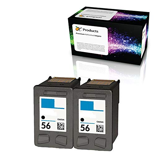 OCProducts Refilled HP 56 Ink Cartridge Replacement for HP PSC 1315 PSC 2410 PSC 1110 PSC 2175 Officejet 6110 Deskjet 450 PhotoSmart 7150 7260 Printers (2 Black)