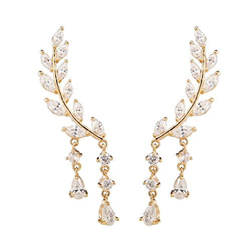 Chichinside CZ Crystal Leaves Ear Cuffs Climber Earrings Sweep up Ear Wrap Pins 1 Pair ()