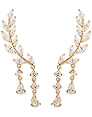 Chichinside CZ Crystal Leaves Ear Cuffs Climber Earrings Sweep up Ear Wrap Pins 1 Pair