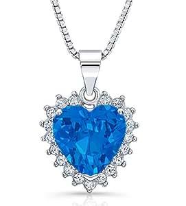 """Heart of Ocean"" Swarovski Elements Blue Heart Silver Necklace Pendant 18"""
