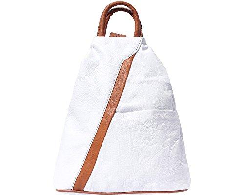 LaGaksta Submedium Italian Leather Backpack Purse White Tan Leather