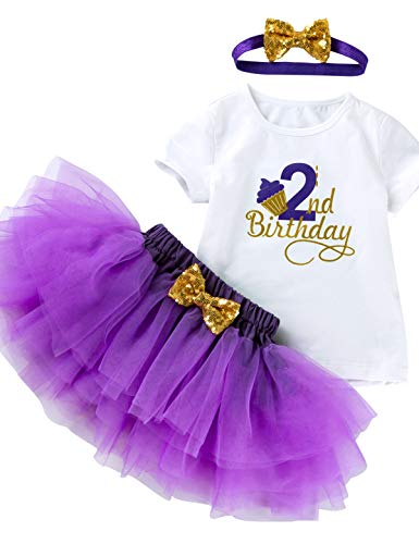 (3Pcs Outfit Set Baby Girls Two Year Old Birthday Lace Tutu Shirt Skirt with Headband (Purple 2nd, 3T))