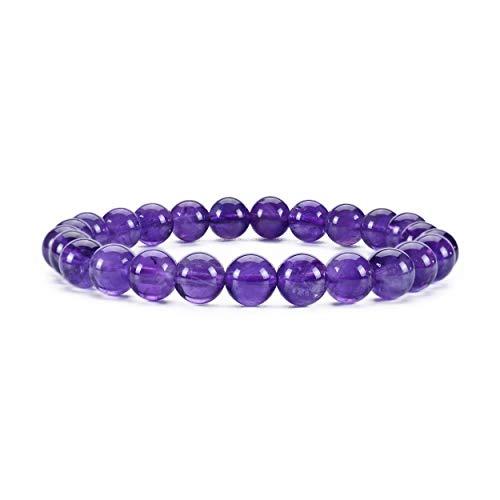 Gemstone Cherry - Cherry Tree Collection Gemstone Beaded Stretch Bracelet 8mm Round Beads | Medium (Amethyst)