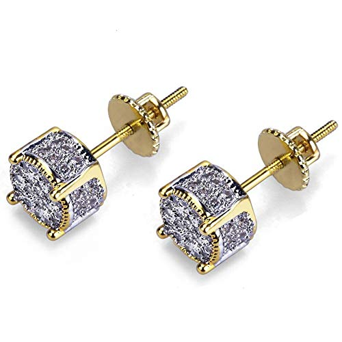 Senteria Iced Out Cubic Zirconia Screw Back 18k Gold Plated Round Stud Earrings for Men and Women Hypoallergenic Earring Micropave Hip Hop Jewelry (Real Hip Hop Jewelry)