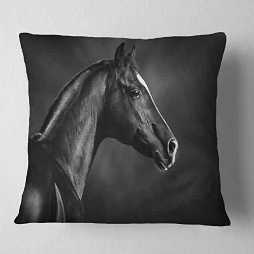 Designart CU13467-26-26 Black Arabian Horse Portrait' Animal Throw Cushion Pillow Cover for Living Room, Sofa, 26 in. x 26 in, Pillow Insert + Cushion Cover Printed on Both Side by Designart