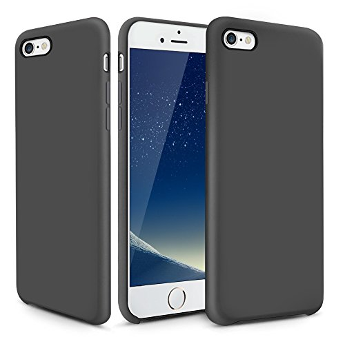 iPhone 6s Plus Case, OCYCLONE [Ultra-Thin Series] Liquid Silicone iPhone 6 Plus/iPhone 6s Plus Case Rubber Shockproof with Soft Microfiber Cloth Cushion Black Slim Fit Protective Case - Jet Black