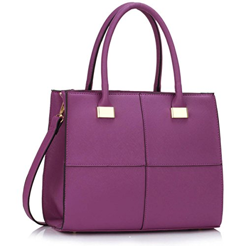Xardi London design donne borse in pelle borse a tracolla da donna in stile college Girls Tote A4 Purple