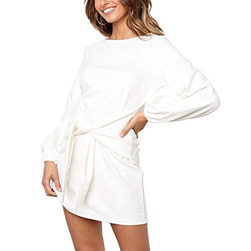 Exlura Women's Casual Puff Long Sleeve Pencil Dress Solid Front Tie Bandage Mini Shift Dress