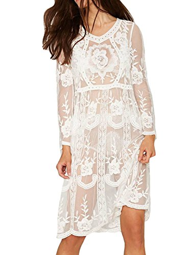 Bestyou® Women's Bikini Cover-up Tunic Semi Sheer Floral Lace Swimsuit Cover Up (White)
