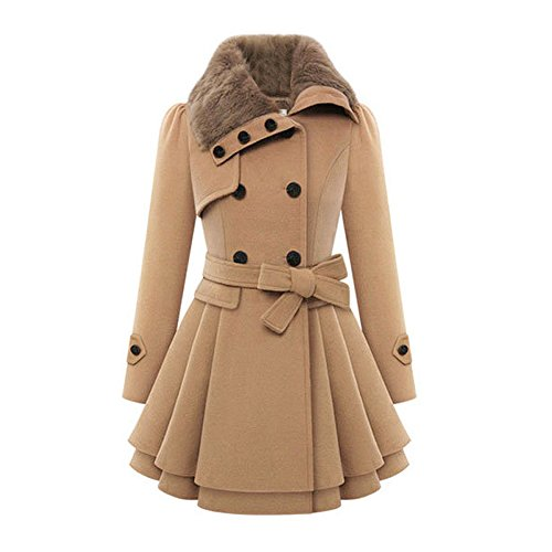 Women's Fashion Faux Fur Double-breasted Thick Wool Trench Coat Fleece Blend Jacket Camel