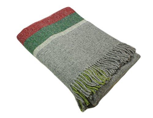 (Biddy Murphy Irish Wool Blanket Green & Red & Grey 72