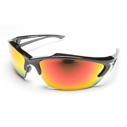 432adce9b7 Edge Eyewear SDKAP119 Khor Safety Glasses Black Frames Aqua Precision Red  Mirror Lens - - Amazon.com
