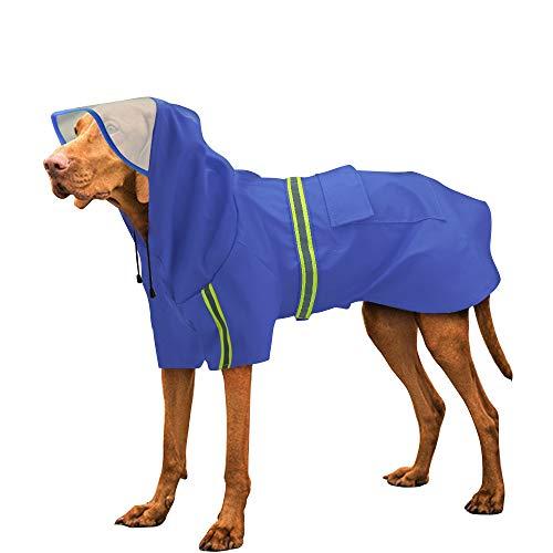 Didog Reflective Large Dog Raincoat with Hood,Rain Poncho,Lightweight Waterproof rain Jacket for Medium Large Dogs,Blue,4XL