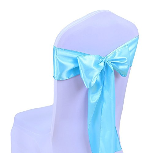 Colorido Wedding Banquet Hotel Chair Back Decoration Sashes Satin Bowknot Silk Ribbon (Teal Blue)