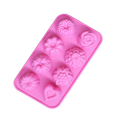 Silicone Flower Mold, Tuscom 8 Cavity Cake Mold DIY Soap Mold Floral Fondant Mold Handmade Chocolate Biscuit Cake Muffine Mold Baking Mold Cupcake Mould Jelly Pudding Dessert Candy Mold (Pink)