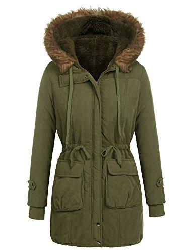 Beyove Women's Winter Casual Hooded Drawstring Waist Zip up Parka Jacket Long Coat...