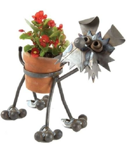 Yardbirds Junkyard Metal Animal Terrier Pot Holder - F29 (Happy Junkyard Puppy)