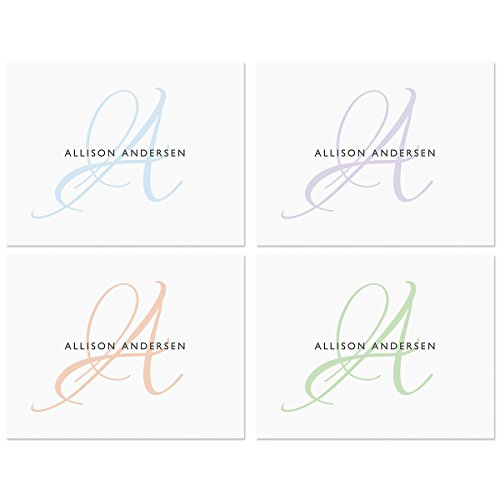 Name Personalized Note Card Stationery - Initial Personalized Note Card Set (4 Color Choices) - 24 cards with white envelopes, 4-1/4