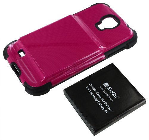 BuQu Tech Protective Cover and Double Capacity Battery for Samsung Galaxy S4 - Non-Retail Packaging - Pink