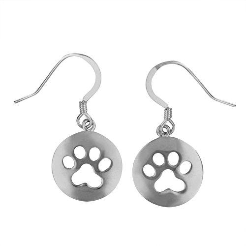 Sterling Silver Circle Dog Paw Print Dangle Earrings (Earrings Dangle Dog)