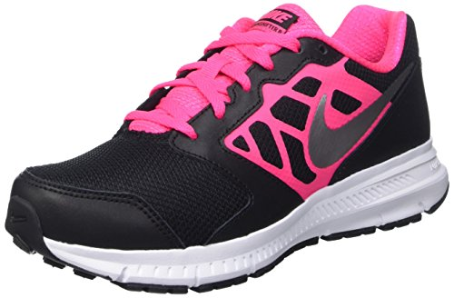 Nike Kids Downshifter 6 (Gs/Ps) Blk/Mtllc Slvr/Hypr Pnk/White Running Shoe 4 Kids US by NIKE