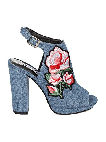 CAPE ROBBIN Women Denim Peep Toe Embroidered Block Heel Mule HJ85 - Denim (Size: 10) by CAPE ROBBIN (Image #1)