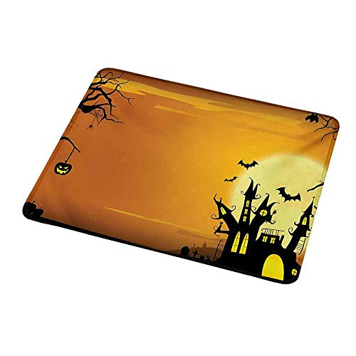 Anti-Slip Gaming Mouse Mat/Pad Halloween,Gothic Haunted House Bats Western Spooky Night Scene with Pumpkin Drawing Art,Orange Black,Gaming Non-Slip Rubber Large Mousepad -