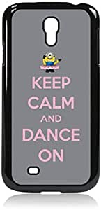 Keep Calm and Dance On-Pink and Grey- Hard Black Plastic Snap - On Case with Soft Black Rubber Lining-Galaxy s4 i9500 - Great Quality!