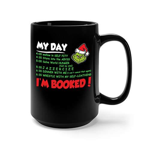 (My Day - I'm Booked Christmas Ceramic Coffee Mug Tea Cup (15oz, Black))
